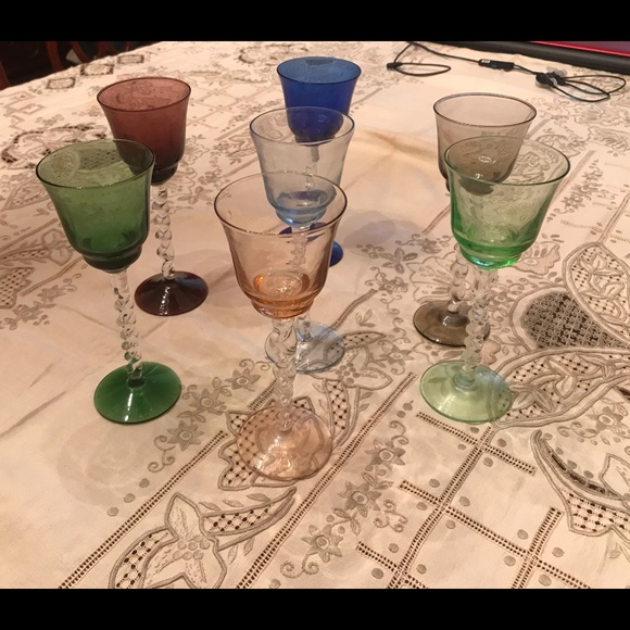 7 Gorgeous Vintage Handblown Colored Glasses